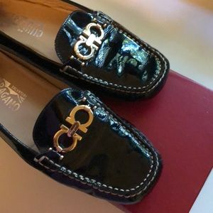 Authentic Ferragamo black patent leather shoes